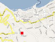The red square shows the exact location of Isotta apartment in Sorrento