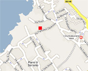 The red square shows the exact location of the monastery Sant'Elisabetta in Piano di Sorrento