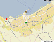 Home at Sorrento: The red square shows the exact location of Marina Grande apartment in Sorrento while the green square is Tasso Square