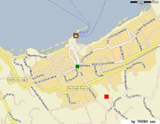 Sorrento Apartment: The exact location of Chiara apartment (red square) and the main square of Sorrento (green circle)