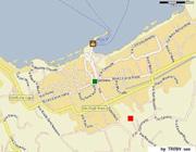 Appartement à Sorrente: L'emplacement exact à Sorrente de l'appertement Chiara (carré rouge) et de la place principale de la ville (cercle bleu)
