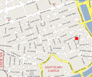 The exact location in Rome of  Sant'Elmo apartment (red square)