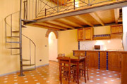 Apartment Rental Florence: Dining-room with kitchen of Botticelli Apartment in Florence