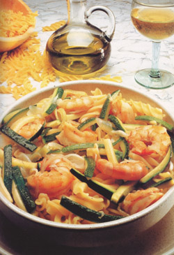 FUSILLI WITH SCAMPI AND ZUCCHINI - Pasta - Speciality from Naples